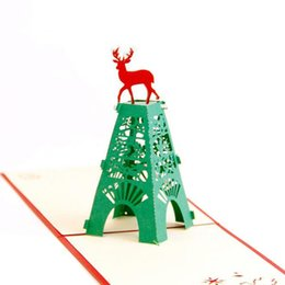 Wholesale Pop Up Stands - (10 pieces lot)Christmas Elk Standing in The Tower 3D Laser Cut Pop Up Paper Handmade Custom Greeting Cards Xmas Gifts Souvenirs