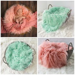 Wholesale Spring Curly - Newborn wool blanket baby photo props baby basket stuffer curly wool layer blanket baby photography props studio backdrop 50*60