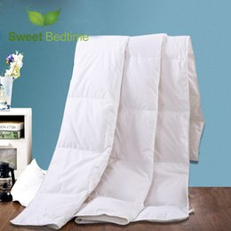 Wholesale King Size White Cotton Blanket - white goose down feather comforter with 400TC satin cotton air-condition blanket queen king size quilt inner summer duvet insert