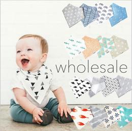 Wholesale dribble bibs wholesale - Wholesale- Baby bibs cotton double layer saliva towel 4pcs pack Toddler Infant Baby Bandana Dribble Bib Absorbent Burp Cloth