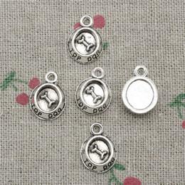 Wholesale Plates Bowls - 163pcs Charms dog bowl bone 15*10mm Antique Silver Pendant Zinc Alloy Jewelry DIY Hand Made Bracelet Necklace Fitting