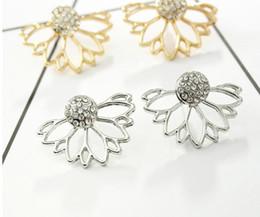 Wholesale Lotus Crystal Flower - Hollow Lotus Flower Pearl Studs Earring Crystal Rhinestone Earrings Stud Golden Plated Alloy Stud Women Party Ear Jewelry Accessories