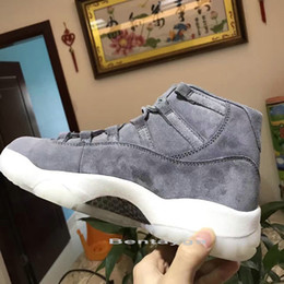 Wholesale Price Real - 2017 Drop ship top quality air retro 11 Suede men basketball shoes real carbon fibre sports shoes size eur 41-47 wholesale price
