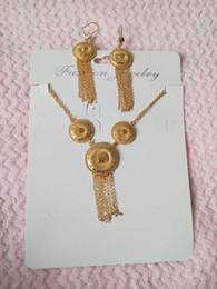 Geschenk ~ Großhandel Quasten Charms Schmuck Sets 24K Gelbgold vergoldet Hochzeit Halskette Ohrringe Dubai afrikanischen Schmuck-Set von Fabrikanten
