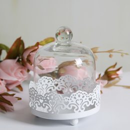 Wholesale White Bakeware - mini cupcake stand with glass dome macaron decoration stand metal cake display decoration for event& wedding party bakeware cake accessories