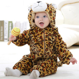 Wholesale Thick Baby Costumes - Spring Autumn Thick Children Animal Rompers 1-3 Years Old Baby Winter Flannel Jumpsuits Costume Warm Jumpsuits Pajamas For Baby