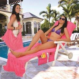 Wholesale Sun Lounger Wholesale - 50pcs Lounger Mate Chari Beach Towel Sun Lounger Bed Holiday Garden Lounge Pockets Carry Bag 4 Colors BKT124