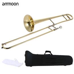 Trombón online-Al por mayor-ammoon Tenor Trombone Latón Oro Laca Bb Tone B Instrumento de viento plano con caja de palillo de limpieza de boquilla de cuproníquel