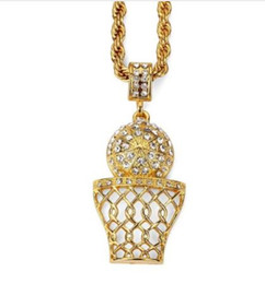 basket necklace jewelry Australia - 2018 mens jewerly new club Rhinestone Basket Pendant Necklace Hip-hop Accessories Crystal Dunk Jewelry