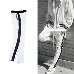 Wholesale justin bieber pants trouser - 2018 best version justin bieber white black splice stripes men pants hip hop pocket foot trousers Side zipper Casual pants S-XL