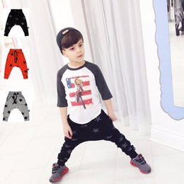 Wholesale Kid Stars Print Harem Trouser - 2017 Autumn toddlers baby boy pants Stars pattern kids harem pants 100% cotton Casual Bottoms Bottoms Trousers