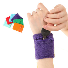 Wholesale Wrap Wallet - 1 Pcs Outdoor Running Cycling Wrist Band Support Wrustband Wallet Safe Storage Wallet Zipper Wraps Sport Strap Bracers Wrister