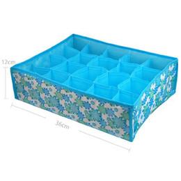 Wholesale Bra Storage Boxes - Wholesale- 20 Cell Socks BLUE Storage Box For Bra Socks 35.5*27*10.5cm underwear organizer for cloth print storage