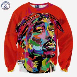 Wholesale 3d Animal Sweatshirts - Hip Hop Hip hop 3d sweatshirt for men autumn pullovers print rapper Tupac 2pac hoodies long sleeve tops red color
