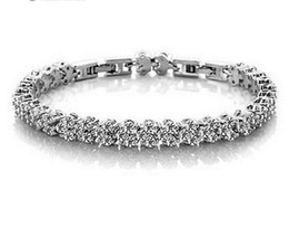 Wholesale Genuine Crystal Bracelets - Luxury Austria Crystal Bracelets Genuine 925 Sterling Silver Charms Bracelet with AAA Zircon Diamond Roman Tennis Christmas Gift