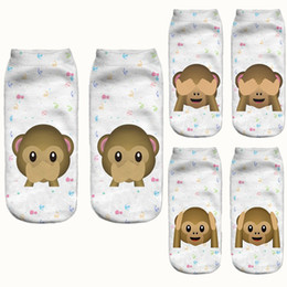 Wholesale Wholesale Sock Monkey - Wholesale- Men and Women's Cute Animal Monkey 3D Print Short Socks Slipper Socks 3DS07