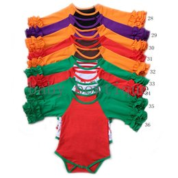 Wholesale Jumpsuits For Spring Sleeves - Baby Holidays romper 37 colors Infant Christmas Halloween Thanksgiving icing ruffle long sleeve raglans jumpsuit 5size for 0-2T