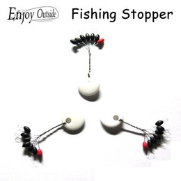 Wholesale Bag Stopper - Wholesale- 10 bags olive pesca fishing stopper Space Beans Float Seat Fishing Tackle Lock Wire Accurate Positioning