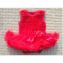 Wholesale High Quality Kid Princess Dress Rose Sleeveless One piece Rose Flower Skirts For Toddle Girl Tutu With Satin Hair Bow