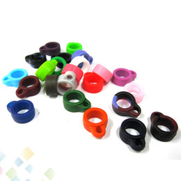 Wholesale Ego Electronic Cigarette Cases - 12mm diameter Silicone Necklace Ring Electronic cigarette Accessary EGO Case Silicon Ring 510 lanyard silicone ring with various colors