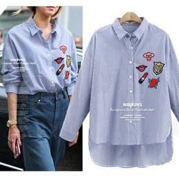 Wholesale Dovetail Shirts - 2017 Hot New Fashion women Blouse Striped Embroidery dovetail Applique loose Cotton shirts Plus size XL-5XL