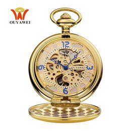 Wholesale Vintage Watch Fob Chain - Top Brand OYW Mechanical Hand Wind Pocket Watch Men Retro Vintage Pendant Skeleton Design Full Steel Chain Pocket Fob Watch Saat