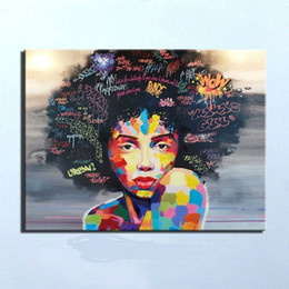 Wholesale African Canvas Oil Wall Decor - Framed High Quality Pure Hand Painted Modern impressionist African Women Portrait Wall Art Decor Oil Painting On Canvas.Multi sizes Ab032