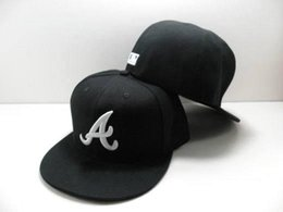 Wholesale Dome Full - 2017 hot top Sale Navy7 Color Atlanta Braves Fitted Hats Men's Flat Fashion Sport Baseball Embroideried A Letter Full Closed Size Caps