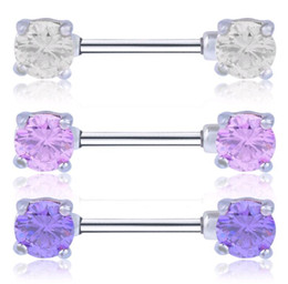 Wholesale Straight Barbells - New Body Jewelry 7mm Zircon Straight Bar Ghost Piercing Nipple Rings 316L Stainless Steel Barbells Shaped Nipple Ring Pink