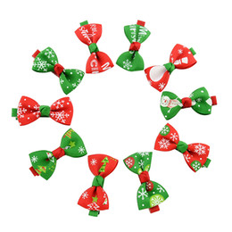 """Wholesale wholesale christmas ribbons bows - Baby Christmas Clips Barrette 2"""" Ribbon Bow Clip Girl Hair Boutique Bows Snowflake Printed Bow Hairpin for Baby Children Accessories KFJ94"""