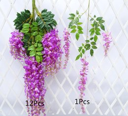 Wholesale Violet Silk Flowers - Artificial flower With Greenery Wisteria basket hanging wedding decorations flowers violet simulation flower vine Ratta Silk Hanging Flower
