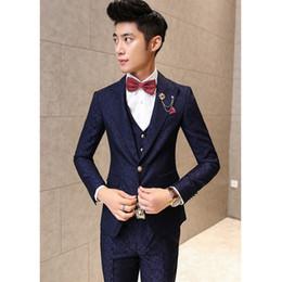 Wholesale Men Red Dress Vest - 3 Pieces Slim Fit Suits Men Blazer+Vest+Pants floral Print Party suit 2017 Fashion Luxury Mens Suits Costume Homme Wedding Dress suit