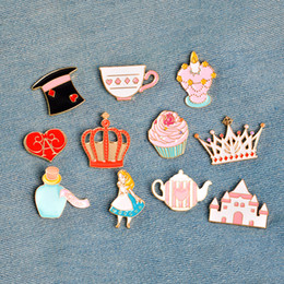 Wholesale Cups Hats Wholesalers - Alice in Wonderland Pin Brooch Rabbit Cat Palace Crown Teapot Cup Hat Enamel Badge Cute Girl Jewelry