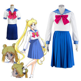 Wholesale Cute Sailor Costumes For Women - Kukucos Anime Cute Skirt Dress Sailor Moon Tsukino Usagi Cosplay Costume Lovely Suit For Sommer Jung Girl Women