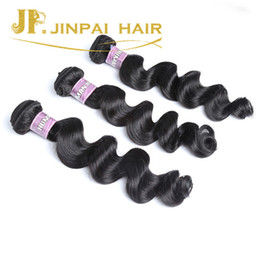 Wholesale Sexy Hair Extensions - JP Hair Sexy Indian Human Hair Weave With Closure 4 Pieces Lot Natural Black Extension Swiss Lace Closure