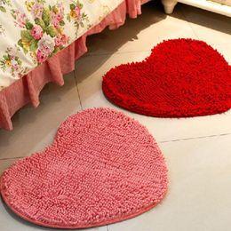 Wholesale Heart Rugs - Wholesale-50*60cm Microfiber memory foam Soft Shaggy Non Slip Absorbent Bath Mat Bathroom Shower Rugs Carpet Pink Red Heart Shape Mats