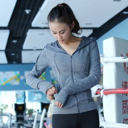 Wholesale Ms Fitness - The new Ms. fall Leisure sports jacket Zipper hoodies Fitness training jacket wicking quick-drying sports shirt