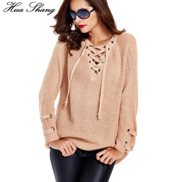 Wholesale Ladies Jumpers Knits - Wholesale-2016 Women Autumn Winter V-neck Lace Up Sweaters Knitwear Long Sweater Pullover Ladies Causal Loose Oversized Sweaters Jumper