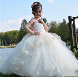 Wholesale Tulle Layered Dress Kids - Ball Gown Back Big Bow Flower Girls Dresses For Weddings Cross Back Lace Handmade Flowers first cummunion Dress Layered for Kids