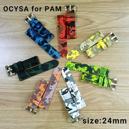 Wholesale Strap For Panerai - Luxury watch camouflage Rubber strap silicone waterproof Strap with silver buckle fit for PANERAI PAM watch.