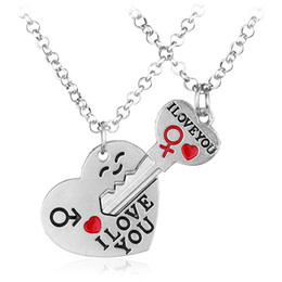 Wholesale Romantic Pair Pendant - Wholesale-The New Style Can Choose Fashion Jewelry I Love Your Heart Key Necklace Lover Romantic Creative Valentine's Day Gift 1 Pairs