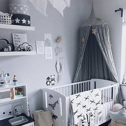 Wholesale bedding curtain - Wholesale- Kid Bed Canopy Bed Curtain Round Dome Hanging Mosquito Net Tent Curtain Moustiquaire Zanzariera Baby Playing Home Klamboe