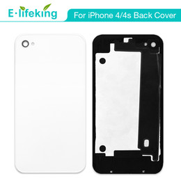 Wholesale Apple Iphone 4s Housing - Back Battery Housing Door Back Cover For iPhone 4 4S Replacement Part + Flash Diffuser CDMA Black & White + Free Shipping