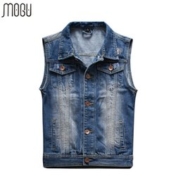Wholesale Men Sleeveless Jean - Wholesale- 2016 New Arrival Mens Sleeveless Denim Jacket Mens Denim Vest Colete Masculino Large Size Vest Men Chaleco Hombre Jean Vest