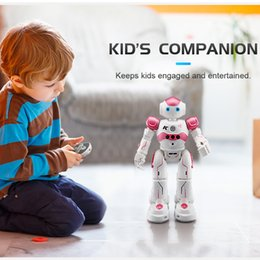 Wholesale Rc Usb - 26.5x16x8cm JJR C R2 USB Charging Dancing Gesture Control RC Robot Soldier Toy Blue Pink for Children Kids Birthday Gift Present