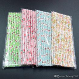 Líneas de puntos online-Eco Friendly Paja Food Grade Paper Multicolor Stripe Tubularis Líneas onduladas Dot Five-Pointed Star Pajas para Juice Milk 0 08xm R