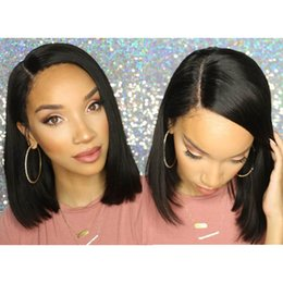 Wholesale Silk Top Bob Lace Wig - Hot Silk Top Virgin Brazilian Bob Human Hair Wigs For Black Women Silk Base Full Lace Lace Front Wigs