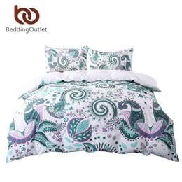Wholesale Paisley Bedding - Wholesale- BeddingOutlet Green Bedding Set Floral Paisley Duvet Cover White 200 Thread Count Soft Bedclothes Multi Sizes Bed Set