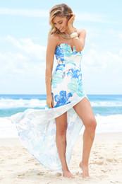 Wholesale Floral Dress Material - 2017 fashion high quality milk silk polyester materials long dress of girls, Strapless beach split dress,elegant,print and trend dresses