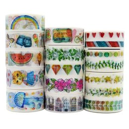 Wholesale Choose Paper - Wholesale- 2016 NEW!!! 17 Designs To Choose 1X7M Washi Paper Tape Masking Tape Stickers Decorative Sticker Adhensive Tape
